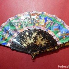 Antigüedades: ABANICO CHINO. TIPO DE LAS MIL CARAS. CARAS Y ROPAJES SON PEGADAS. SIGLO XIX. CHINA.. Lote 75816351