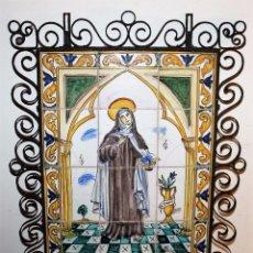 Antigüedades: PLAFÓN RELIGIOSO DE 12 AZULEJOS - SANTA TERESA DE JESÚS - FIRMADO J. GUIVERNAU - H.1940. Lote 75820411