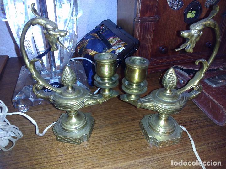 Antigüedades: Antigua pareja de candelabros (lámparas de Aladino) - Foto 4 - 75837571
