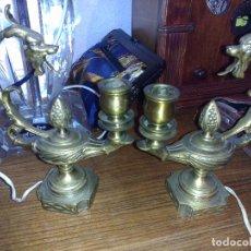 Antiques - Antigua pareja de candelabros (lámparas de Aladino) - 75837571