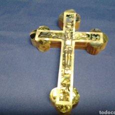 Antigüedades: CRUCIFIJO DE JERUSALEN EN NACAR Y MADERA DE OLIVO. Lote 94866244