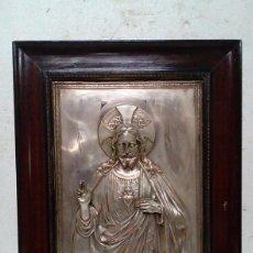 Antiquitäten - ANTIGUA CRISTO ENMARCADO EN METAL PLATEADO - 75890491