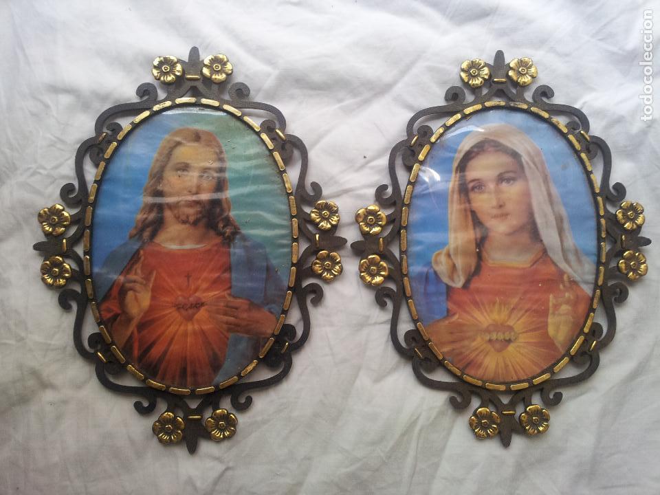 2 pequeños cuadros con jesus y la virgen-marco - Comprar ...