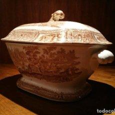 Antigüedades: SOPERA CON TAPA SARGADELOS SERIE GONDOLA COLOR MARRON. Lote 75929983