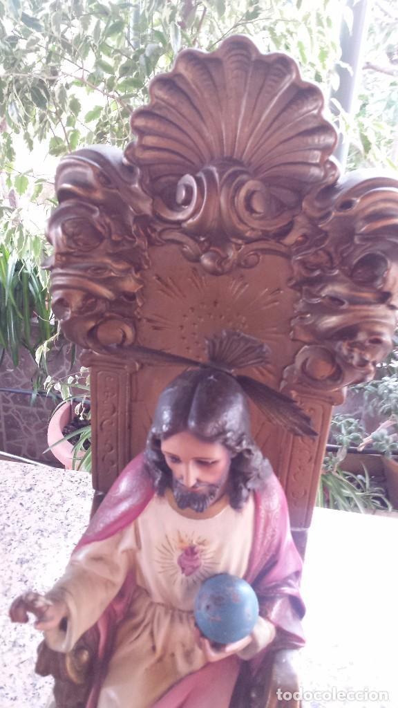 Antigüedades: antiguo imagen del sagrado corazon , imageneria castellana , fernandez de la hita , madrid - Foto 4 - 75933787