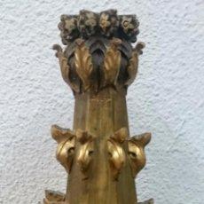Antigüedades: ANTIGUO PINÁCULO NEOGÓTICO, COLUMNA DORADO AL ORO FINO Y POLICROMADO . HECHO LÁMPARA. S. XIX.. Lote 70544613