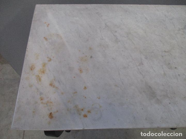 Antigüedades: Antigua Consola - Mesa - Tocador - Isabelina (Ditada) - Madera, Laca negra y Mármol - S. XIX - Foto 14 - 75951287