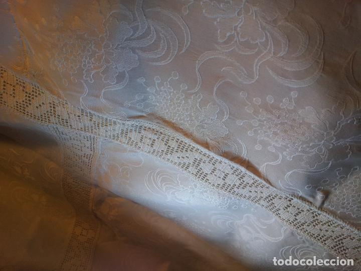 Antigüedades: colcha cubrecama damasco damasquinada brocado brocada 2,50 x 1,70---impecable !!!! - Foto 5 - 75975247