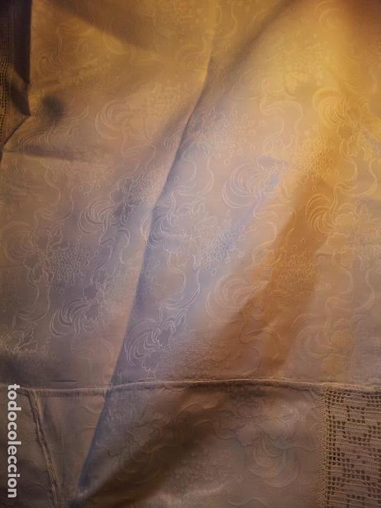 Antigüedades: colcha cubrecama damasco damasquinada brocado brocada 2,50 x 1,70---impecable !!!! - Foto 8 - 75975247