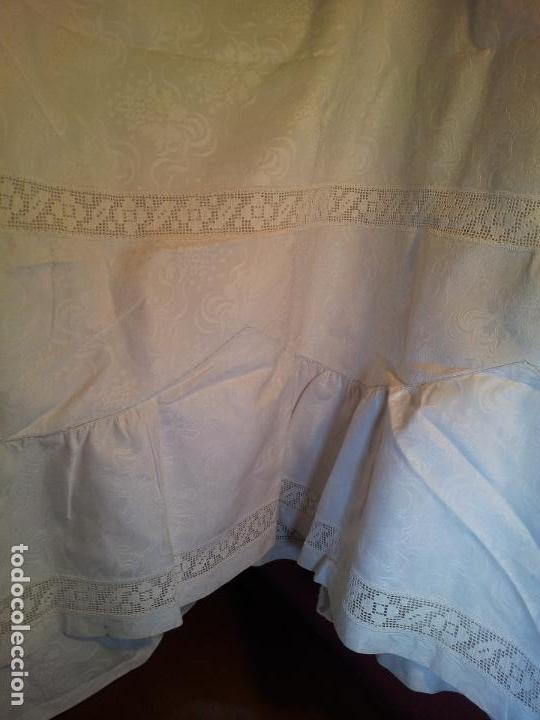 Antigüedades: colcha cubrecama damasco damasquinada brocado brocada 2,50 x 1,70---impecable !!!! - Foto 14 - 75975247