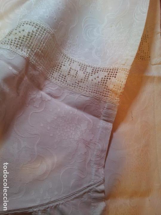 Antigüedades: colcha cubrecama damasco damasquinada brocado brocada 2,50 x 1,70---impecable !!!! - Foto 15 - 75975247