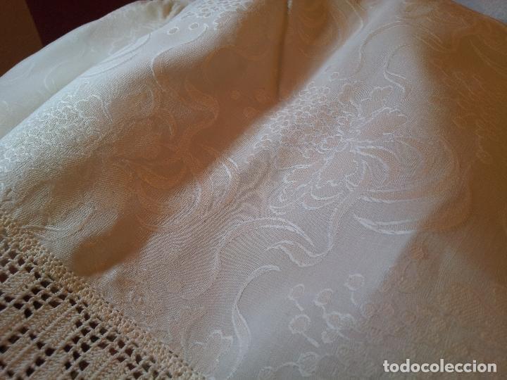Antigüedades: colcha cubrecama damasco damasquinada brocado brocada 2,50 x 1,70---impecable !!!! - Foto 21 - 75975247