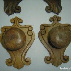 Antigüedades: LOTE DE 4 PERCHEROS DE PARED INDIVIDUALES. MADERA. AÑOS 40. Lote 75984743
