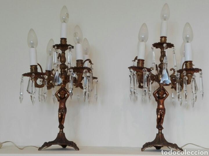 Antigüedades: Pareja de candelabros lámpara - Foto 3 - 75990178
