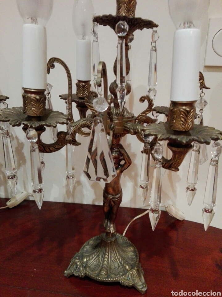 Antigüedades: Pareja de candelabros lámpara - Foto 5 - 75990178