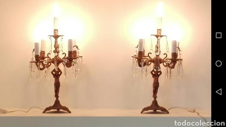 Antigüedades: Pareja de candelabros lámpara - Foto 6 - 75990178