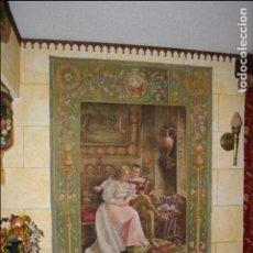 Antigüedades: ESPECTACULAR ÓLEO SOBRE TAPIZ ANTIGUO, GRANDES DIMENSIONES Y FIRMADO. TAPIZ PINTADO.. Lote 75998067
