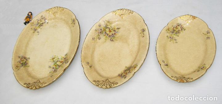 INEDITAS! 3 BANDEJA PLATO ANTIGUO CERAMICA PICKMAN SEMI CHINA MEDALLA ORO CARTUJA (Antigüedades - Porcelanas y Cerámicas - La Cartuja Pickman)
