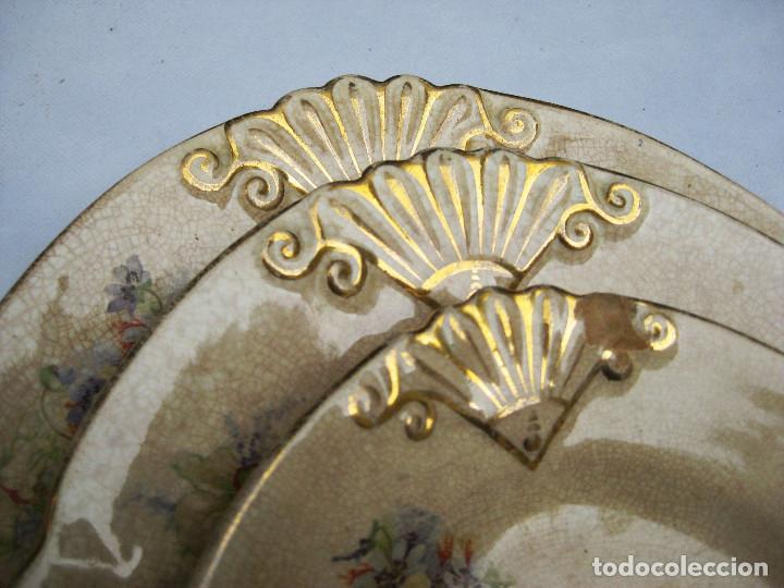 Antigüedades: INEDITAS! 3 BANDEJA PLATO ANTIGUO CERAMICA PICKMAN SEMI CHINA MEDALLA ORO CARTUJA - Foto 2 - 76025767
