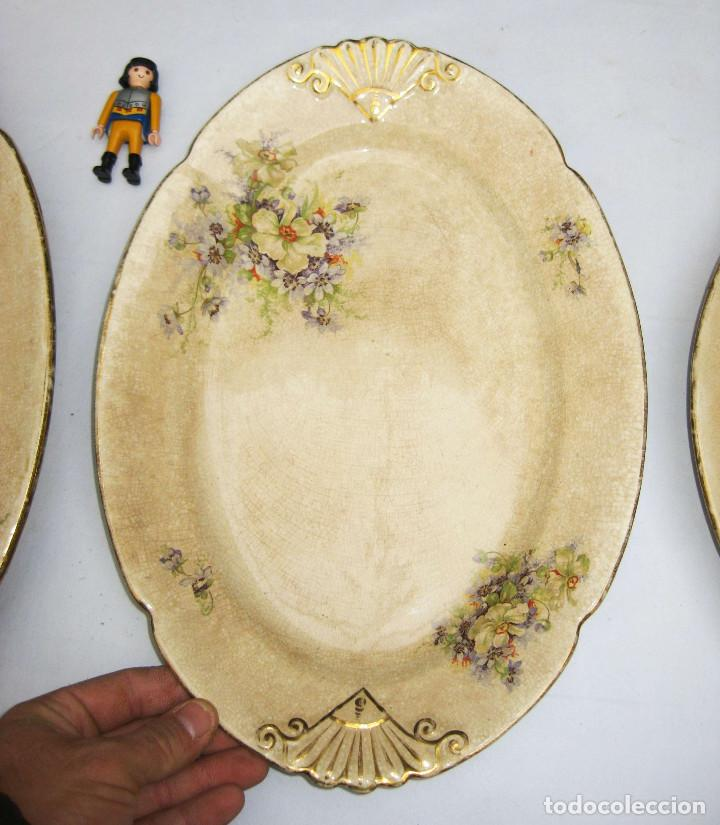 Antigüedades: INEDITAS! 3 BANDEJA PLATO ANTIGUO CERAMICA PICKMAN SEMI CHINA MEDALLA ORO CARTUJA - Foto 10 - 76025767