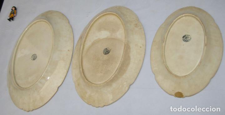 Antigüedades: INEDITAS! 3 BANDEJA PLATO ANTIGUO CERAMICA PICKMAN SEMI CHINA MEDALLA ORO CARTUJA - Foto 12 - 76025767