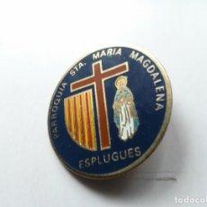 Antigüedades: BROCHE MEDALLA ESMALTADA DE PARROQUIA DE SANTA MARIA MAGDALENA. Lote 76046559