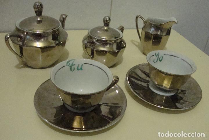BONITO CONJUNTO PORCELANA TU Y YO COMPLETO PLATEADO (Antigüedades - Porcelanas y Cerámicas - Otras)