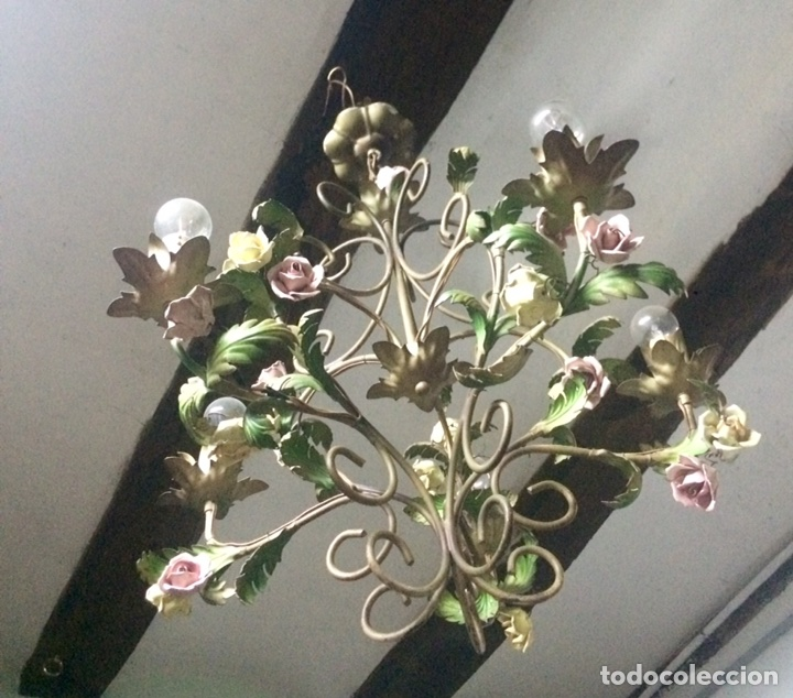 Antigüedades: Lampara de techo modernista Italiana de principios del XX, circa 1910. Motivos vegetales. - Foto 3 - 76064362
