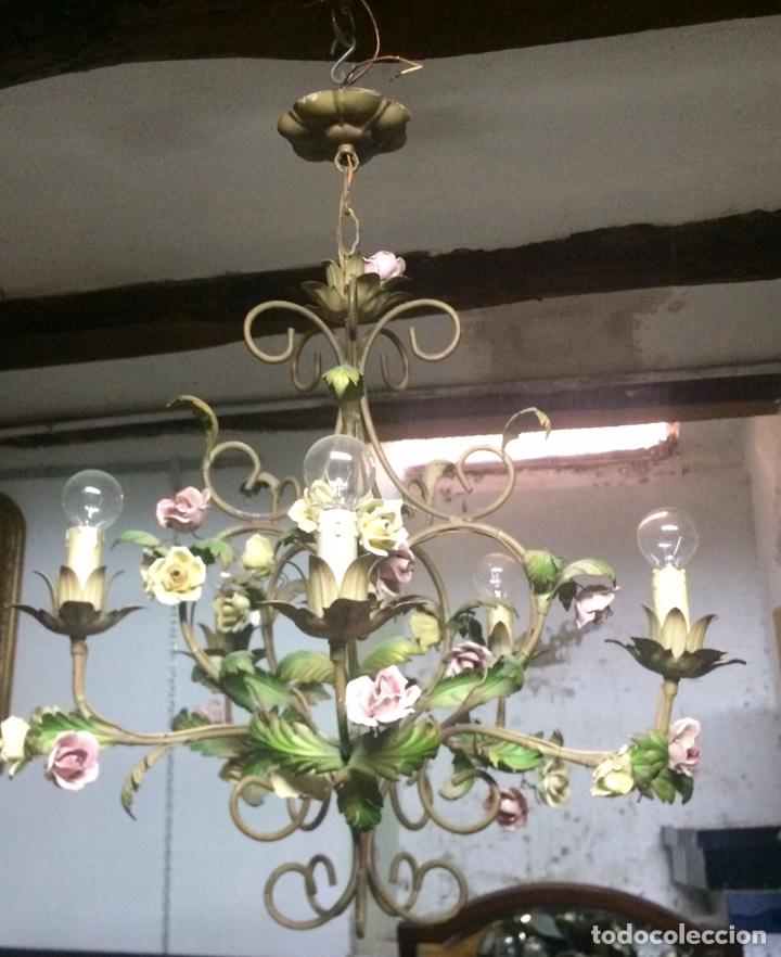 Antigüedades: Lampara de techo modernista Italiana de principios del XX, circa 1910. Motivos vegetales. - Foto 7 - 76064362