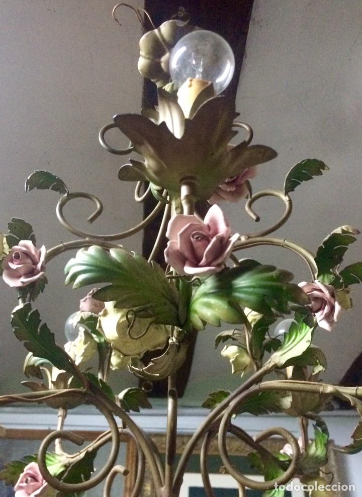 Antigüedades: Lampara de techo modernista Italiana de principios del XX, circa 1910. Motivos vegetales. - Foto 8 - 76064362