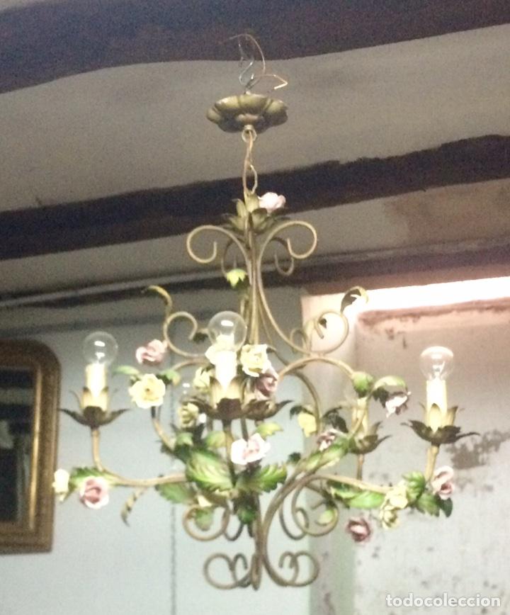 Antigüedades: Lampara de techo modernista Italiana de principios del XX, circa 1910. Motivos vegetales. - Foto 9 - 76064362