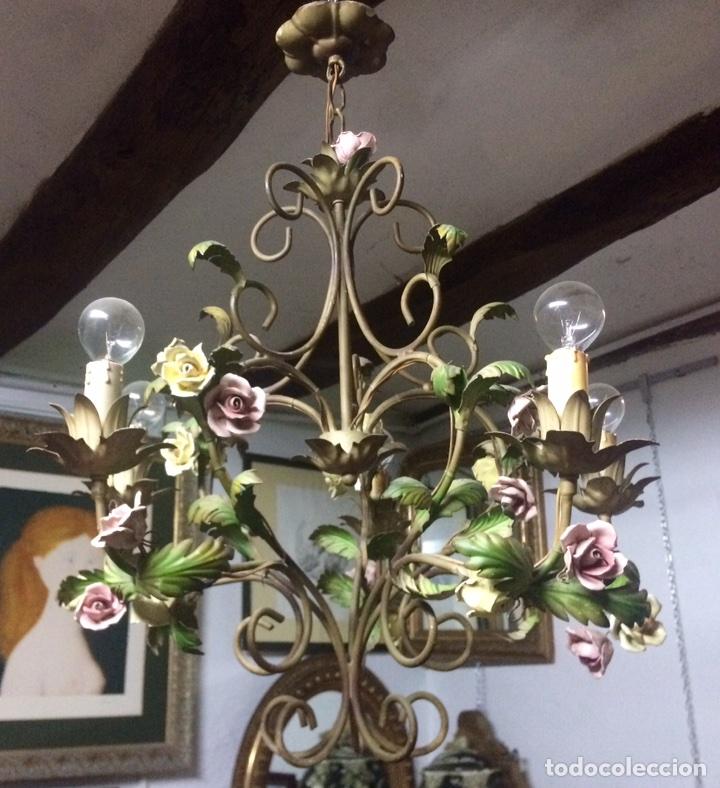 LAMPARA DE TECHO MODERNISTA ITALIANA DE PRINCIPIOS DEL XX, CIRCA 1910. MOTIVOS VEGETALES. (Antigüedades - Iluminación - Lámparas Antiguas)