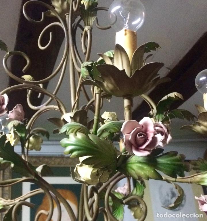 Antigüedades: Lampara de techo modernista Italiana de principios del XX, circa 1910. Motivos vegetales. - Foto 10 - 76064362