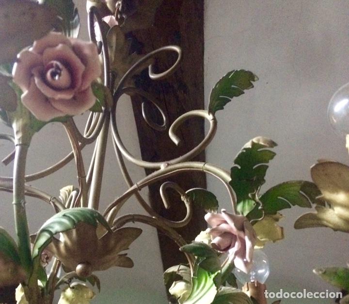 Antigüedades: Lampara de techo modernista Italiana de principios del XX, circa 1910. Motivos vegetales. - Foto 11 - 76064362