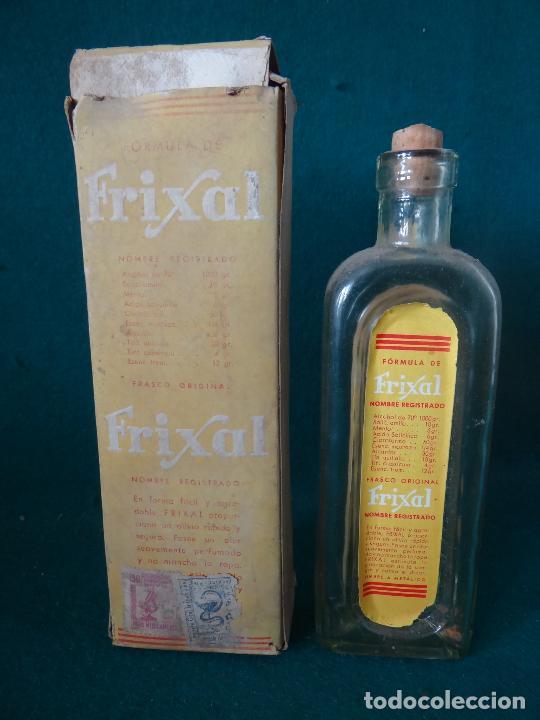 Antigüedades: FRIXAL BAYER. BARCELONA , FRASCO + CAJA DE FARMACIA, REG.SAN. 1937 - Foto 2 - 76113519