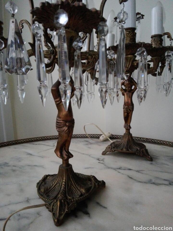 PAREJA DE CANDELABROS LÁMPARA (Antigüedades - Iluminación - Candelabros Antiguos)