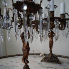 Antigüedades: PAREJA DE CANDELABROS LÁMPARA. Lote 75990178