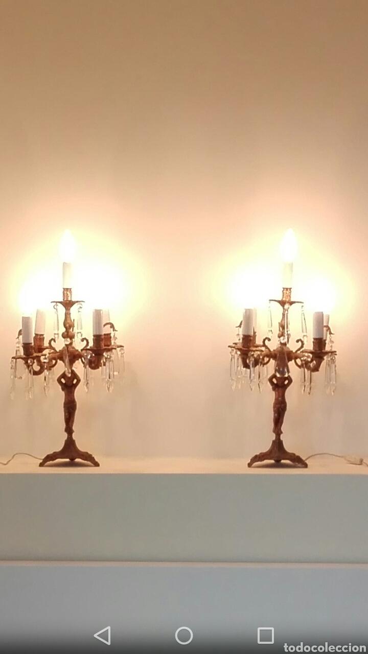 Antigüedades: Pareja de candelabros lámpara - Foto 2 - 75990178