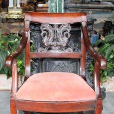 Antigüedades: SILLÓN IMPERIO. MADERA DE CAOBA. ESPAÑA. CIRCA 1820.. Lote 76066043