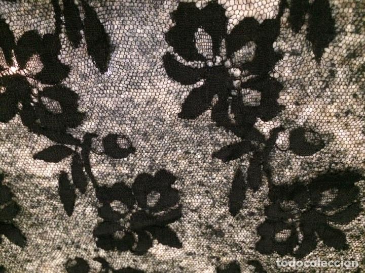 Antigüedades: Mantilla negra 195x79cm Rf3 - Foto 2 - 76193930