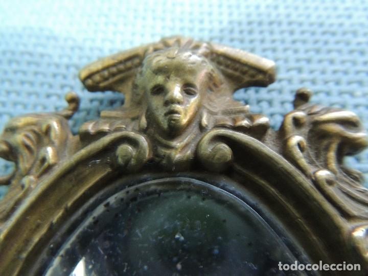 Antigüedades: espejo de mano siglo XIX bronce - Foto 3 - 216616255