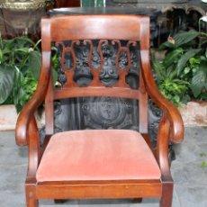 Antigüedades: SILLÓN IMPERIO. MADERA DE CAOBA. ESPAÑA. CIRCA 1820.. Lote 76424855