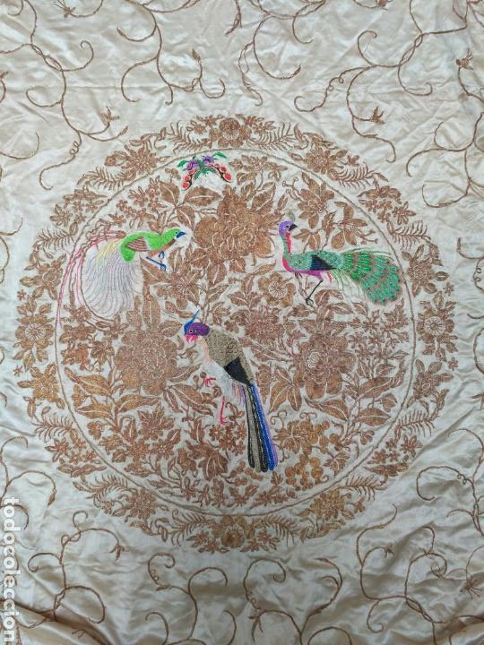 Antigüedades: Colcha de seda bordado a mano con hilo de oro del siglo XIX - Foto 3 - 76446443