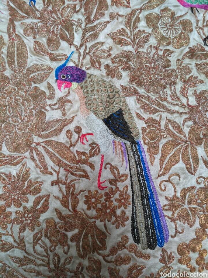 Antigüedades: Colcha de seda bordado a mano con hilo de oro del siglo XIX - Foto 4 - 76446443
