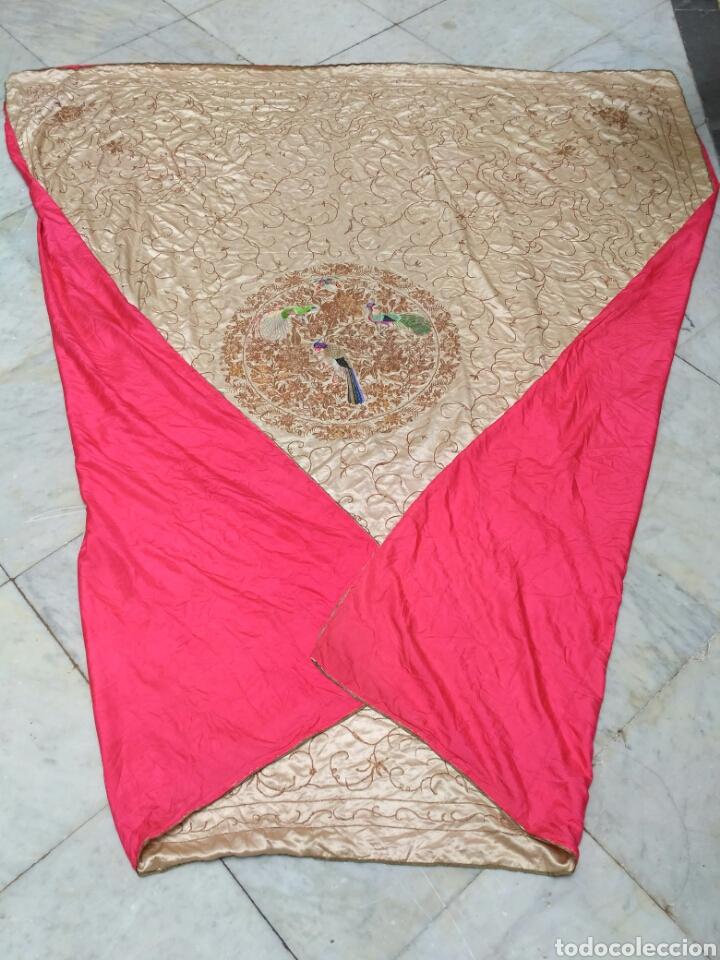 Antigüedades: Colcha de seda bordado a mano con hilo de oro del siglo XIX - Foto 6 - 76446443