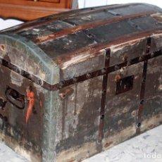 Antigüedades: ANTIGUO BAUL DE FINALES DEL XIX, FORRADO 73X47X40. Lote 100308352