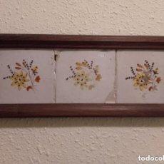 Antigüedades: PLAFON DE TRES ANTIGUOS AZULEJOS CERAMICA AÑOS 1800. Lote 76541627