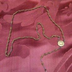 Antigüedades: ANTIGUO ROSARIO DE METAL DORADO. Lote 76560375