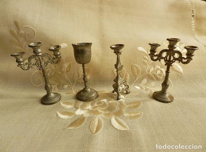 CONJUNTO MINIATURAS ANTIGUAS PARA IGLESIA EN ESTAÑO - 4 PIEZAS - 7CMS ALTO APROX (Antigüedades - Religiosas - Ornamentos Antiguos)