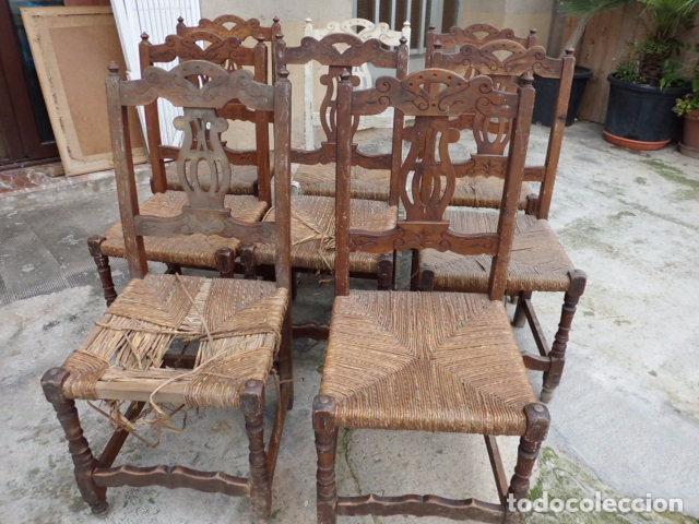 Lote de ocho bonitas sillas de madera de frutal comprar for Antiguedades para restaurar